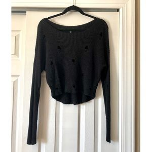 Express Black Distressed Sweater